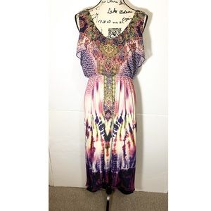 One World Layered Boho Tie Dye Maxi Dress